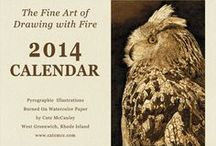 2014 Calendar of Pyrographic Illustrations / Unique Holiday Gifts from Rhode Island. Signed limited edition 12 month wall calendar of Cate McCauley's pyrographic illustrations. This year's batch sold out.
