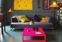 --- colourful homes --- / Moodboard inspiration for colourful and vibrant spaces | Eclectic Interiors | Colourful Walls, upholstery, furniture & cushions |