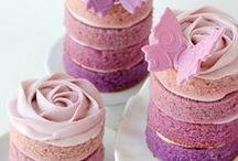 Petit fours & mini cakes / #petitfours #minicakes #cakes #icing #sweets #sweettreats #sponge #colour #color ideas #inspiration #hightea #afternoontea #kitchentea #ombre #ombreminicakes