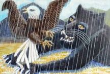 Animal Rain Paintings / This is a series of paintings of real and fictitious animals mostly painted with cool colors in the rain