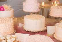 Wedding Cake Ideas / Multiple Smaller Wedding Cakes, homemade with different flavors/designs and each decoration with different toppers: gold deer(buck & doe), cake bunting, cake flags, dahlias and succulents / by Melissa Lindsay