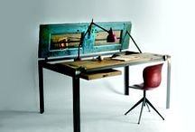Home Office and Study / Functional and chic interior design inspiration for your home office or study with vintage desk lamps, industrial desks and reclaimed furniture and storage.