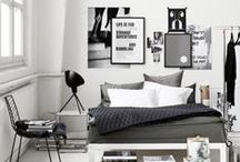 Style: Monochrome / Monochrome interior design and home decor inspiration for your loft apartment or warehouse home. Black and white colour scheme for modern Scandinavian aesthetic.