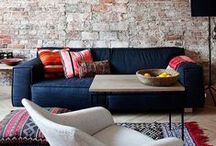 Style: Bohemian Chic / Interior design and home decor inspiration for creating Bohemian Chic modern interiors in a loft apartment or warehouse conversion, from woven rugs to Moroccan prints