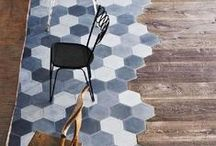 Interior Design Inspiration - Floor Tile Panels / Creating a striking feature in any modern home or warehouse conversion with a floor tile panel. Use geometric, patterned, plain, monochrome or patterned tiles to mark out a focal point in any room.