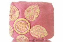 Silk Coin Purses and Card Holders / Appliqued & embroidered silk coin purses and card holders handmade in the USA