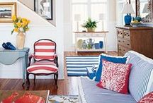 Red, White & Blue Decor / Whether for 4th of July or not, get inspired to show your patriotic--and chic!--side with these reds, whites, and blues.
