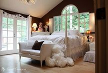Master bedrooms / My idea of a luxurious retreat and a king size bed is a must!!! Big windows with a grand view and a wood burning fireplace if at all possible