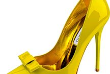 Yellow shoes and purses