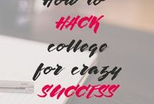 College Hacks for Success / improve grades, lower stress, college tips, college hacks, college success, college organization, study skills, study tips, work smart, work less, work hard, focus, procrastination, time management, student, financial aid, make friends, scholarships, essay writing, college essay, how to write, essay