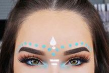 festival / festival makeup hair style fashion coachella body paint boho chic eyes