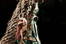 """Wearable Art / The wearable stage of this textile is mainly tangible in a gown to free from being the essence of a picture and make up an """"artistic core"""" itself. These wearable art creations have their fine-art stage when they become totally unique."""