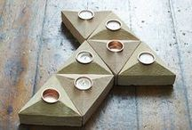 Sand Cast Brick Tea Light Holder / Handmade, rustic 'triangle' tea light holder made with natural clay by historic brick makers. Designed to tessellate to create stylish arrangements. A year round accessory, create a cosy indoor winter or stylish alfresco supper.