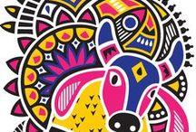 O Despertar das Lendas - Moodboard / Referências visuais da mitologia brasileira e de padrões representativos da cultura. Ideias, cores, formas, padrões :)
