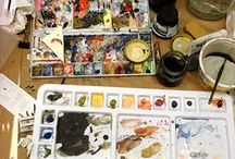 Space | Tools | Actions / Artist at work. Studio spaces. Art supplies