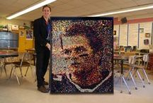 """Tom Brady CRAYON Portrait! / This masterpiece may, in fact, be an official world record. """"The World's Largest Portrait Made Entirely of Crayons""""!  20,724 to be exact!  I conducted a 3-day workshop at West Elementary School in Andover, MA, where 679 students placed approximately 10 crayons each into this gigantic """"crayon box"""".  Visit this link to read more: http://www.amazingheroart.com/NewFiles/Tom%20Brady%20Crayons.html"""