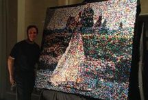 """34,000 Push Pins!  by:  ROB SURETTE / I got invited to create a masterpiece for this grand event in Newport, Rhode Island.  The assignment was to create """"A Conversation Piece"""" for the evening.  34,000 Push Pins later... this is what I came up with...  a SCENE from Newport, Rhode Island!  Up close, your eye just focuses on individual dots and very limited colors, but when you step back, back, back... away from the creation, your eye will start to blend the dots, resulting in a ridiculously-realistic image!"""