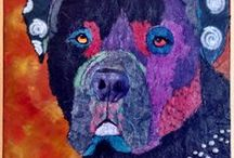 Dog Collage, Mixed Media and Quilts / ART