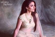 Arpita Mehta - Glamorous Trousseau Collection / Arpita Mehta is a young Indian label from Mumbai. Known to dress young and glamorous brides, her collection comprises of mirror work embroidery, sparkly tassel work paired with georgette saris in fun colours are ideal for smaller wedding events such as welcome dinner, mehndi and more. Learn more on how to style your wedding look. Bridelan - Personal shopper & styling services for Indian brides & grooms. Website www.bridelan.com