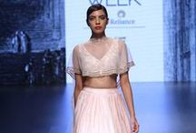 Ridhi Mehra Lakme Fashion Week Winter Festive 2016 / Ridhi Mehra: Indowestern vibes. A mix and match of ghararas with short tops, and gowns with gold embroidery. Her bold colours and designs were the highlight of her show. Bridelan - Personal shopper & style consultants for Indian/NRI weddings, website www.bridelan.com