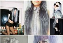 Silver, grey and purple hair