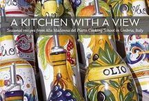 """A Kitchen with a View Cookbook / """"Use good quality ingredients in simple combinations. Embrace the rhythm of the seasons. Respect the balance of flavors and textures."""" Applying these principles to traditional Italian cooking, Letizia has created a collection of over 60 family-friendly recipes from her farmhouse kitchen in the Umbrian mountains near Assisi. With beautiful photography of the Umbrian countryside and its enchanting hill-towns,the book will instantly transport you into the heart of rural Italy and its people."""