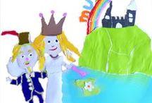 Sprookje, kinderboek, regenboog children's book, fairy tale, rainbow / Sprookje over een verdrietige prinses en een tuinman met mos in de baard en de regenboog: kinderboek met kleurijke illustraties gescheurd uit behang.