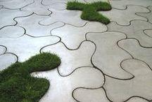 Nawierzchnie w Ogrodzie / Nawierzchnie zarówno naturalne (mineralne i organiczne) jak i sztuczne (betonowe); Paths, paving, surfaces;