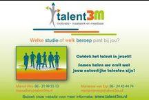 Talent3M Welke studie past bij jou? Ontdek het talent in jezelf! / Wat doen wij?  Wij bieden studiekeuzebegeleiding aan op maat, zodat jij, als middelbare scholier of student, in staat bent een goede studiekeuze te maken! Dat doen we door je te leren je talenten, je drijfveren en je motivatie te ontdekken, met als concreet en meetbaar resultaat een studie die bij jou past!  Wij geven je de middelen een studie te kiezen die bij je past!  Talent3m zorgt ervoor dat jij het talent in jezelf ontdekt!