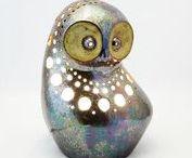 Lamps - Owls. Handmade by Midene Art Studio / Handmade ceramic lamps - Owls form.  Keramikiniai rankų darbo šviestuvai - Pelėdų formos.