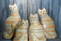 Cats & Dogs. Handmade ceramic / Handmade ceramic cats and dogs figurines.