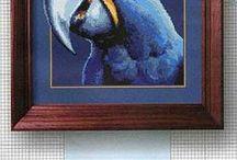 vyšívání - obrázky modré