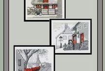 vyšívání - obrázky černá-červená-modrá-šedá