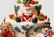 Cakes : Christmas Cakes & Topping Ideas / Beautifully decorated Christmas cakes or crafted sugar / paste decorations which have caught my eye.  Imagine being presented with a cake like some of these! I wouldn't be able to slice into them.