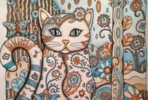 Creative Cats Coloring Book Completed Pages Inspiration / If you bought Creative Cats illustrated by Marjorie Sarnat and published by Creative Haven you might be looking for some inspiration before you start your adult coloring book.   Check out the gallery of completed pages from Enchanted Forest and get inspired. #creativecats #catcoloringbook #marjoriesarnat
