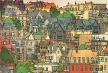 Fantastic Cities Coloring Book Completed Pages Inspiration / If you are a fan of buildings and architecture then you will love the intricate detail of the Fantastic Cities coloring book #stevemcdonald #adultcoloring #fantasticcities