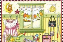 Mary Engelbreit Completed Pages / Mary Engelbreit has a number of #coloringbooksforadults.    Her quirky, whimsical art is a lot of fun to color and reflects home life in a naive style