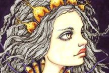 Inklings Coloring Books Completed Pages / Inklings is a series of colouring books by talented artist Tanya Bond.   The drawings all feature mystical fantasy type girls that have amazing detailed eyes and facial features #inklings #tanyabond #coloringbook #colouringbooks #coloriage #fantasyart