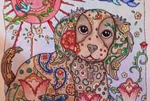 Dazzling Dogs Completed Pages / Dazzling Dogs is a great coloring book illustrated by Marjorie Sarnat.   Marjorie's work is very distinctive with a tapestry like flavour to it #dogcoloringbook #marjoriesarnat #creativecats