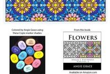 Angie Grace Coloring Books / Angie Grace is a well known coloring book illustrator and has produced a large number of coloring books for adults that are usually pattern based.    See the collection of Angie Grace #coloringbooks here and see ideas and inspiration for coloring your own Angie Grace book