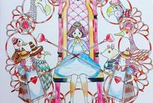 Wonderland - Amily Shen Completed Pages / Wonderland illustrated by Amily Shen is based on the Alice in Wonderland classic fairy tale.   This gorgeous #adultcoloringbook has been published in a number of countries with different #wonderland covers #amilyshen