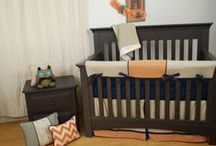 Orange in the Nursery / Orange fabrics used in the nursery on custom crib bedding add a bright splash of color