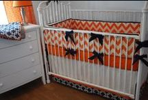 Zig Zag Chevrons in the nursery  / Chevron fabrics and fun zig zag custom crib bedding in the nursery