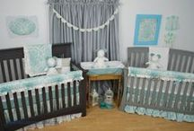 Twins Nursery / Custom Crib Bedding for twin babies in the nursery