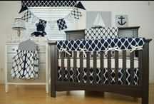 Navy in the nursery / Navy fabric in the nursery can go for either gender, depending on the other colors used!