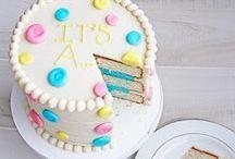 Gender reveal Baby Shower / Her samler jeg idéer til kager som kan afsløre om den lille mirakel bliver en pige eller en dreng..... ;)