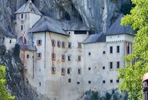 CASTLES & FOLLIES / The cover photo is of a castle in Slovenia,that is built into a mountain. It has a wonderful tale of being besieged for many years,but no one could get to them until one day......................  / by Heather Downunder