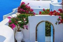 La Mediterranean / The bluest blues and whitest whites,what a jewel she is! The glorious ancient Greece and many Others that have placed their stamp on history. Their Cuisines have influenced all the people's of the earth.... / by Heather Downunder