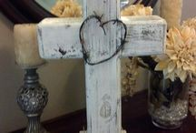 """Rustic wood standing cross on etsy mloldruggedcrosses / 19"""" x 12"""". Solid wood standing cross. Custom rustic look choose your favorite color and style of bow or crown of thorns, round or heart shaped."""