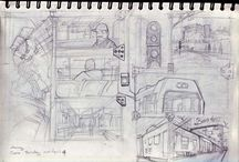 Juniar in Urban sketch / Juniar sketching on journey